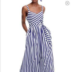 JCrew Stripe Ruffle Maxi Dress